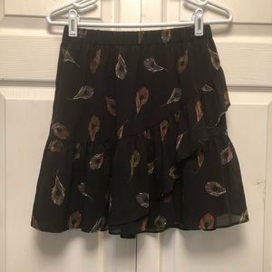 Madewell Tiered Peacock Feather Mini Skirt